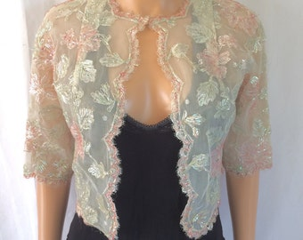 1960s Iridescent Flower Lace Cropped Jacket Sz. S