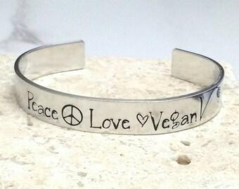 Peace love vegan cuff bracelet, handstamped