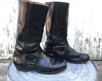 1960s Black Leather Harness Boots Sz 8 9 Motorcycle Boots