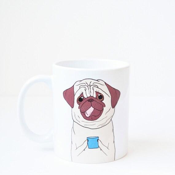 Pug coffee mug - dog lover pug valentines day vday birthday gift cute animal funny pug gift