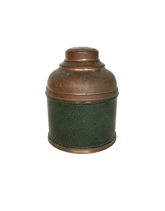 Copper plated tobacco humidor vintage metal tin canister rustic decor