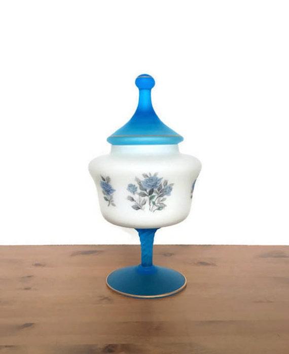 Frosted glass candy dish vintage pedestal bowl blue rose floral decoration