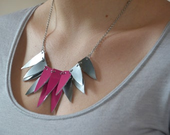 Fashion leather necklace, Statement necklace, Geometric necklace, Bib necklace, Gift for her Under 30, Statement triangle necklace, for girl