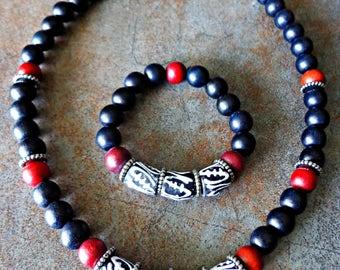 Men's Jewelry Set, Men's Gye Nyame Necklace Bracelet Set, Men's Tribal Jewelry, Gift For Man, Guy Men Adinkra Jewelry, Khepera Adornments