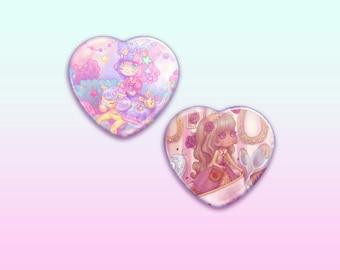 "Lolita Adventure 2.25"" Heart Button / Pin / Badge"