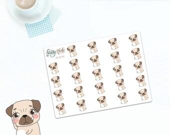 Sad Pug Stickers Dog | Cute stickers | Erin Condren Vertical | Planner Stickers | Kikki k | Happy Planner | Functional Stickers