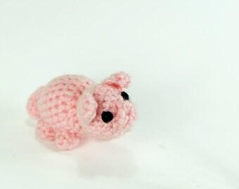 Miniature and Adorable Pink Pig Amigurumi Yarn Crochet Animal