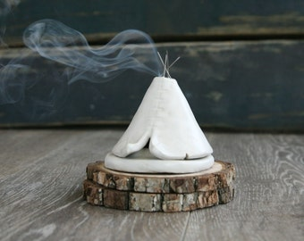 Ceramic Teepee Smoking Incense Burner, White, Minimalist, Monochromatic, Native American Indian, Stoneware Clay Pottery, Unique Yogi Gift