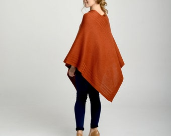Women's poncho, rust poncho, women's cape, cashmere cape, knit cashmere poncho, brick cape, poncho, blanket coat, wool poncho