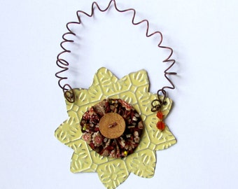 Sunflower Ornament - Yellow Metal Flower Decoration - Yellow Flower Wall Decor - Recycled Metal Ornament - Eco Friendly Ornament