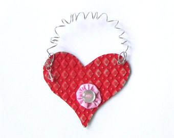 Red Heart Ornament - Metal Heart Ornament - Valentine Heart - Heart Wall Decor - Recycled Ornament - Eco Friendly Ornament