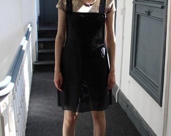 Handmade punk alternative mesh black pinafore mini dress
