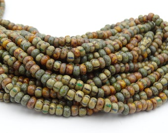 Glass 4/0 Aged Mural Mosaic Striped Picasso Seed Bead Mix  10 Inch Strand