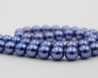 Glass 4mm Montana Blue Pearlized Round Bead  50 Pieces