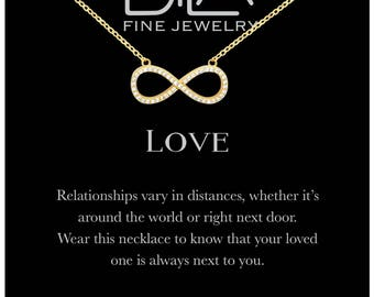 DTLA Infinity Necklace in Sterling Silver with Inspirational Love Quote Card - Gold Plated