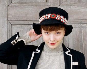 Felt black fedora hat with stripe of shells and coral beads, ethno folk style, fancy wool hat, designer fashion, wearable art, unisex, OOAK