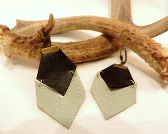Recycled leather earrings (handmade)