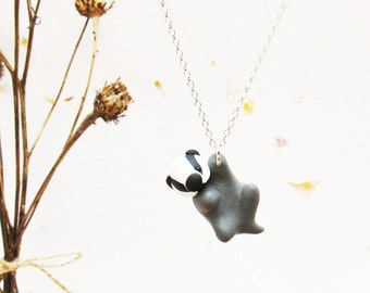 Badger Necklace on Sterling Silver Chain / Cute Badger Pendant /  Badger Totem / Badger Gift / Cute Animal Jewellery / Animal Necklace