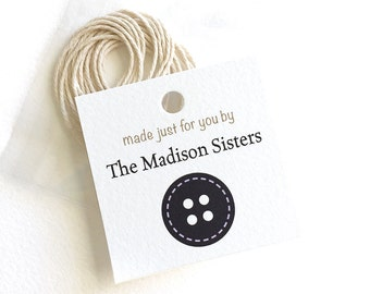 "Personalized Sewing Hang Tag, Product Tag, Clothing or Garment Sewing Tags, Sewing Gift, 12 or 24 Tags, 2"" or 2.5"" with Packet of Ties"
