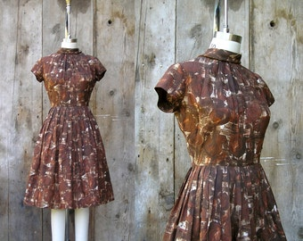 c. 1950s floral day dress + vintage 50s 60s brown abstract print dress + vintage 50s full skirt dress