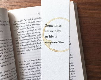 Quote Bookmark, Gift for Reader, Imagination quote Bookmark, Book Lover Gift, Unique Paper Bookmark, Life quote bookmark, Unique bookmark