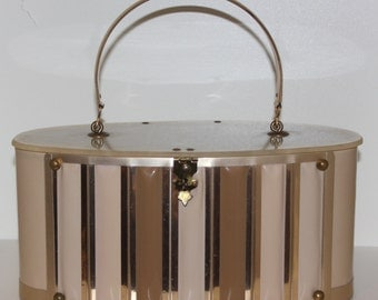 Vintage 50s 1950s original lucite lid gold coffee and cream handbag by Goldstrom