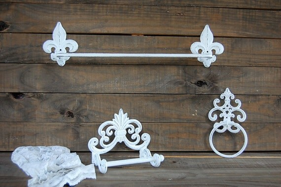 Bathroom set white towel bar towel ring toilet paper for Shabby chic towel stand