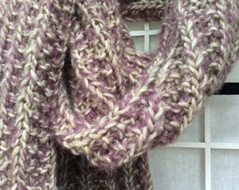 TexturedHandKnitScarf LilacHazeScarf CosyWinterCowl OOAK scarf RusticChicScarf