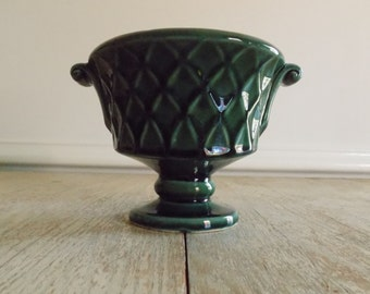 Vintage Emerald Green Glaze USA 463 Pottery Planter | Mid Century Pedestal Urn Flower Pot | Made In USA