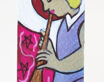 Healing Music Angel Original Art Bookmark