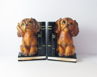 Spaniel Puppy Dog Bookends Japan Ceramic Vintage Home Decor - 5.5 Inches Tall