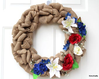 Burlap Wreath - Wreath - Fourth of July Wreath - Patriotic Wreath - Door Wreath - Holiday Wreath - Front Door Wreath - Everyday Wreath