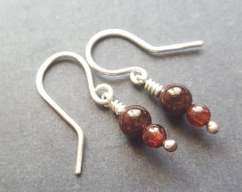 January Birthstone Earrings, January Stone Jewelry, Garnet Earrings, Sterling Silver Pair of Earrings, Elegant Earrings, Elegant Gift