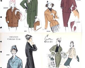 Vintage French fashion prints, set of 10 late 1950s, early 1960s woman fashion prints