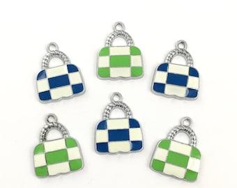 6 handbag silver tone and enamel charms, 17mm to 23mm# CH 644