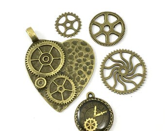 5 steampunk charms bronze tone ans enamel,15mm to 48mm # CH 597