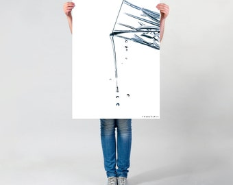 LARGE wall ART, water glass photo, pouring water photography print matte art print, modern water art, tasteful water drops poster, pub decor