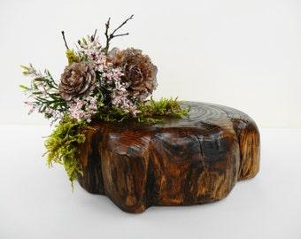 "7""-8.5""Wood Slice, Cake Stand, Wood Stump, Wooden base, Tree Slice,Log Slice,  Flower Stand, Wood Round, Home Decor, Wedding Decor, Party"