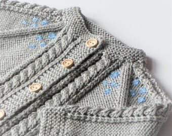 Baby girl cardigan cable sweater lace cardigan knitted sweater merino baby sweater blue flowers light grey cardigan MADE TO ORDER