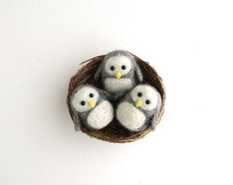 DIY Kit - Three Owls in a Nest Needle Felting Kit - Needle Felted Animal Kit