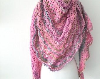 Crochet shawl pink Blue and green