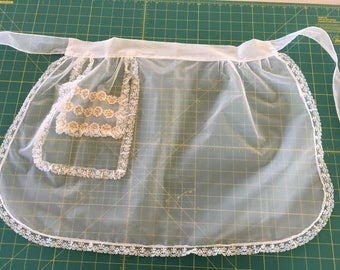 Vintage Half Apron Sheer White Fabric with Gold Accents - Hostess Apron