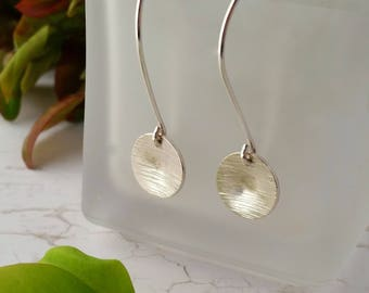 Recycled Sterling Silver Earrings. Eco Friendly, Hammered Circle Dangle, Contemporary Earrings, Silver Earrings, Mothers Day, Gift For Her
