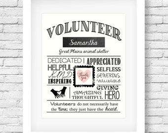 Volunteer gift - Volunteer appreciation - Volunteer thank you - Volunteer present - Volunteer printable