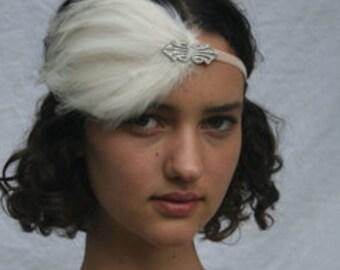 1920s GATSBY Headpiece, bridal headpiece, ivory feather, art deco swarovski silver headband, stretch elastic velvet headband, art deco