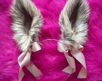 Light Beige-Gray Fluffy Realistic Bunny Rabbit Ears Faux Fur Ears Kawaii Bunny Cosplay Handmade Costume Faux Fur Ears