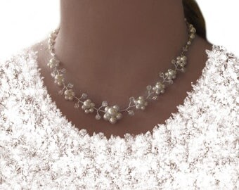 Bridal jewellery set Necklace Bracelet wedding Pearl bridal Necklace Bracelet, white wedding flower, flowers, beads
