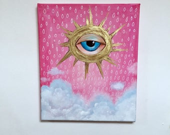 Original abstract painting.Small abstract painting.Abstract art.Cloud,eye,sky abstract.Acrylic on canvas.Evil eye painting.Gold,pink,white
