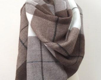 Plaid Blanket Scarf, Brown Tartan Scarf, Wool Men's Scarf, Unisex Wrap Shawl, Pashmina Scarf, Men's Gift, Women's Foulard, Christmas Gift