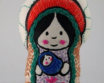 Mariita (little Mary), virgin Mary with child, soft saint, screen printed and hand embroidered